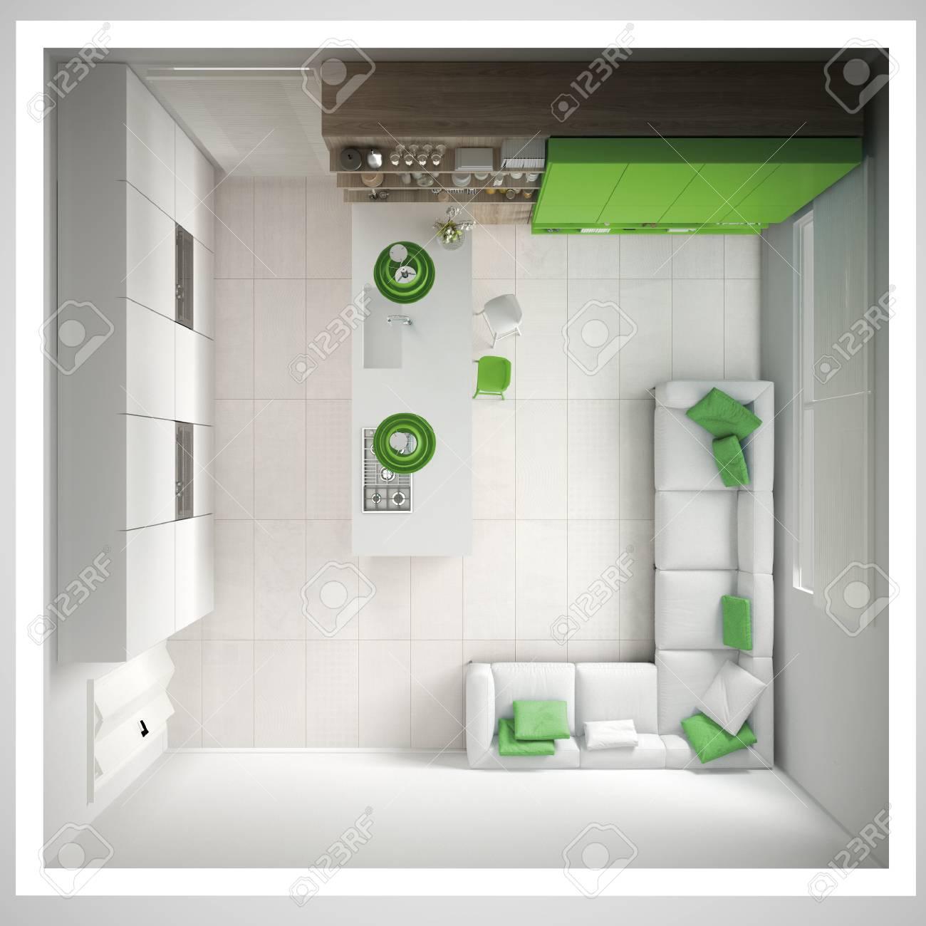 Cucina bianca minimalista, con dettagli in legno e verde, interni minimali,  sezione trasversale, vista dall\'alto