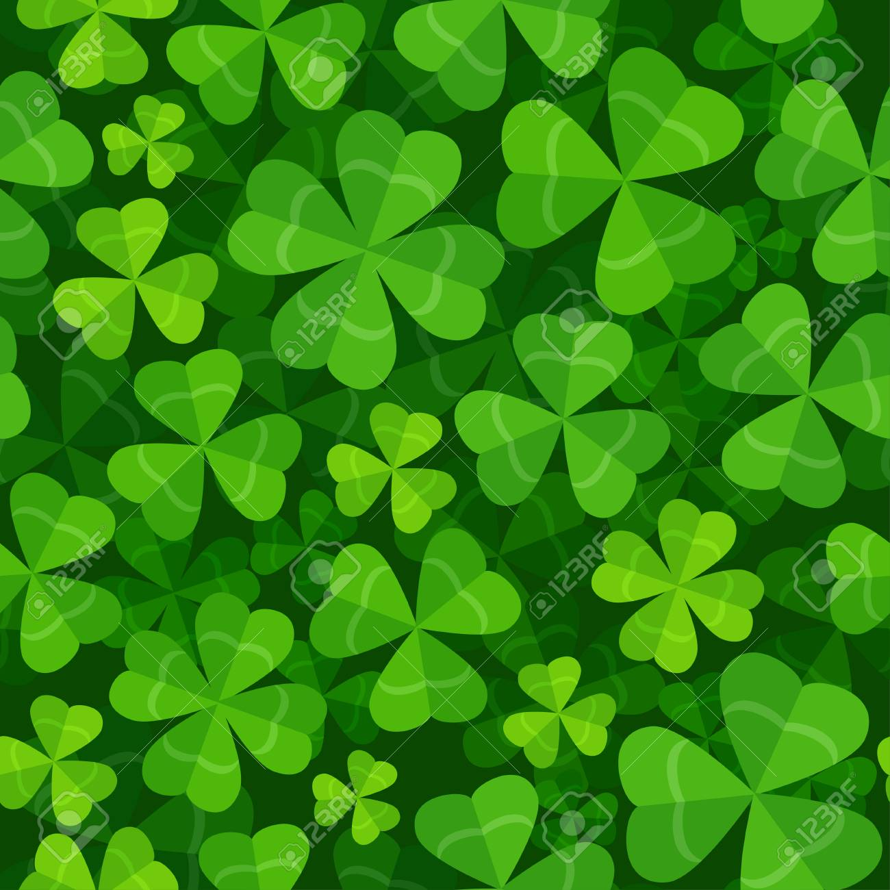 Vector seamless pattern with clover three and four leaves - 122955464