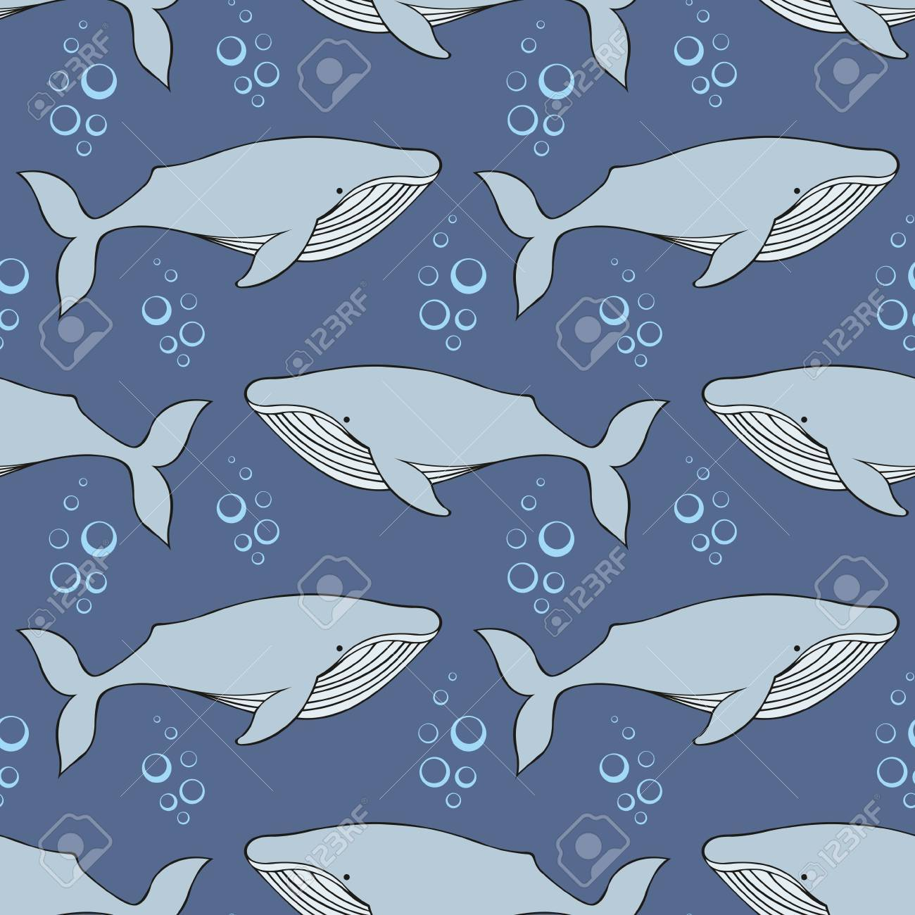 Whales Vector Seamless Pattern In The Style Of The Cartoon
