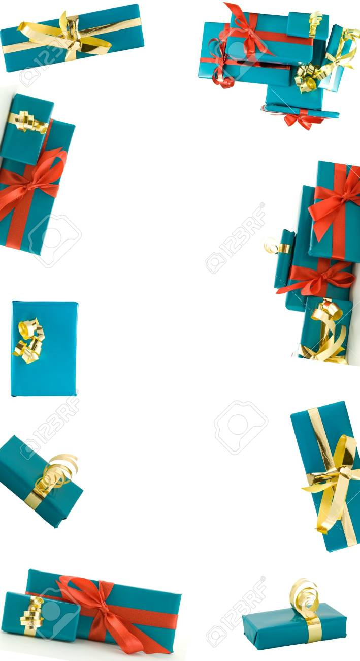 a frame of blue gifts with gold and red decorations on white Stock Photo - 16236088