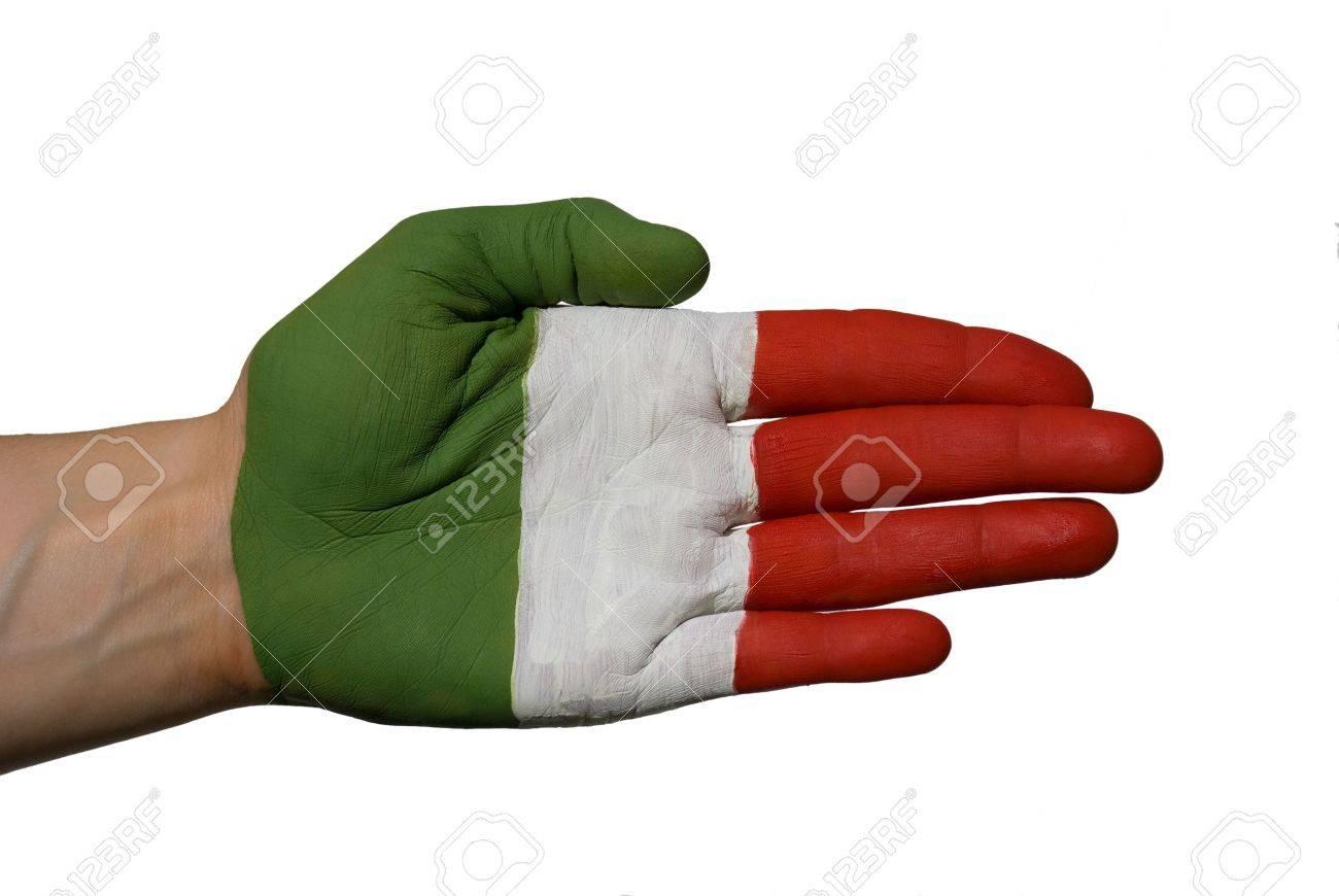 Una Mano Pintada Con Los Colores De La Bandera Italiana O Sólo Unas ...