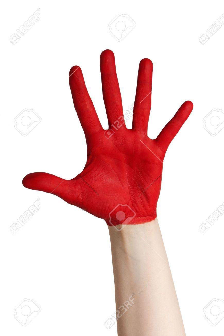 a red hand grabbing after something, isolated Stock Photo - 18104068
