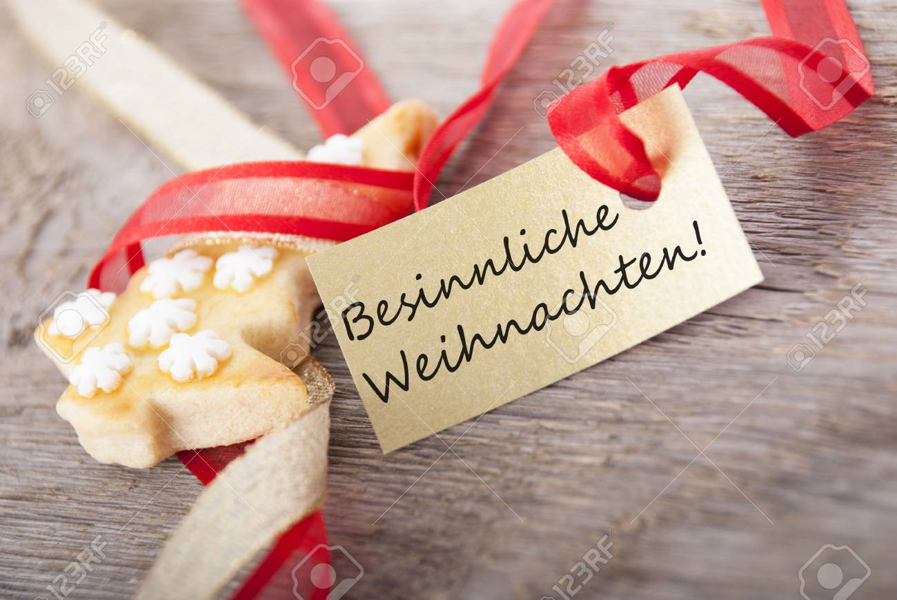 Besinnliche Weihnachten Bilder.A Golden Label With The German Words Besinnliche Weihnachten