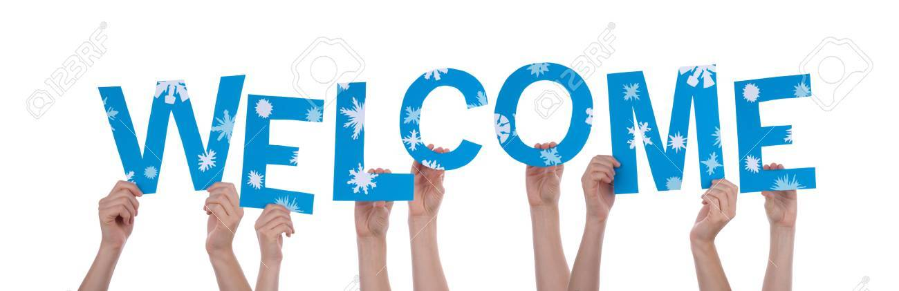 Many Hands Holding the Blue Word Welcome, with Snowflakes, Isolated Stock Photo - 23061816