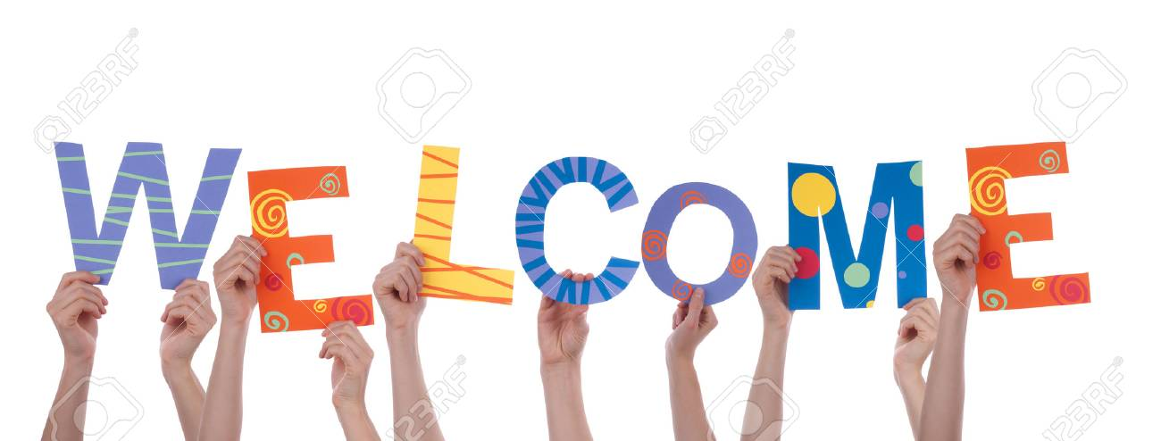 Presentacion de una vieja conocida! 24770572-Many-People-Holding-the-Colorful-Word-Welcome-Isolated-Stock-Photo