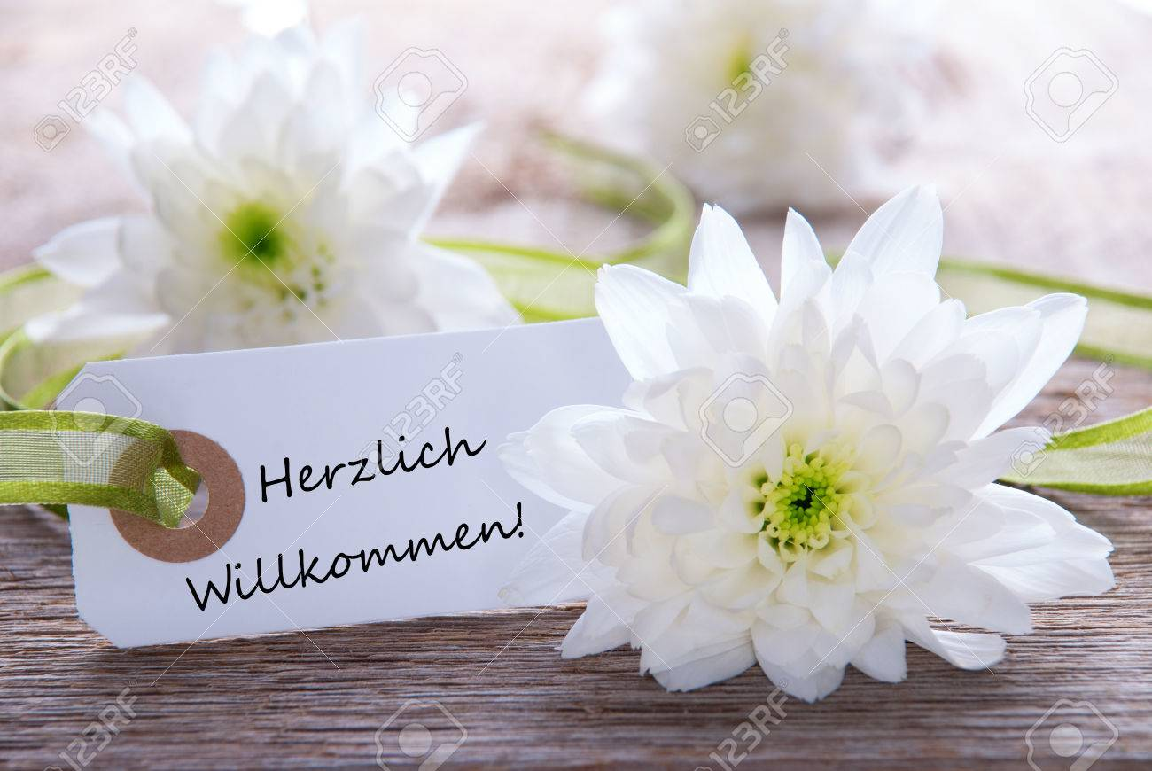 White label with white flowers and the german words herzlich stock stock photo white label with white flowers and the german words herzlich willkommen which means welcome mightylinksfo