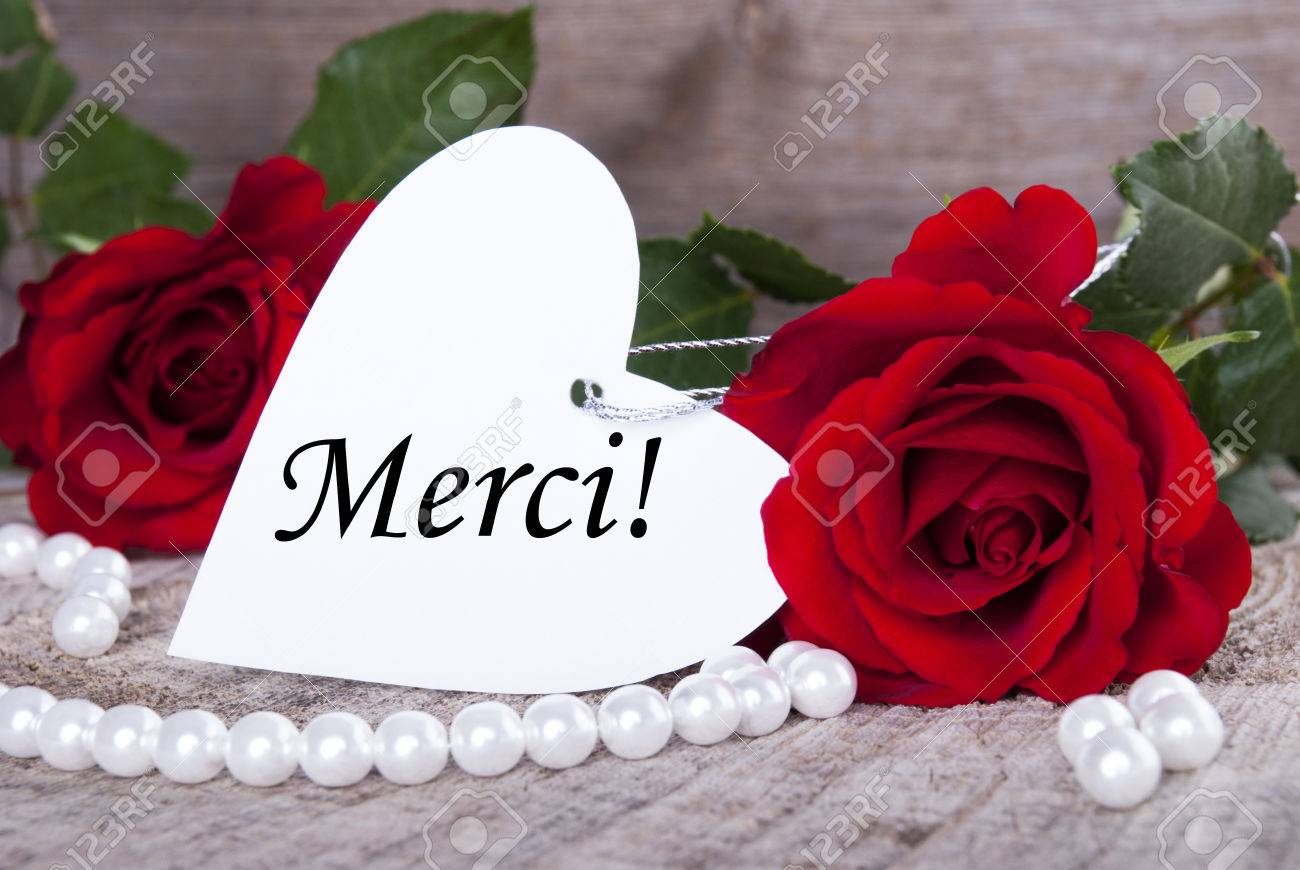 Background with Roses and Pearls and the French Word Merci which