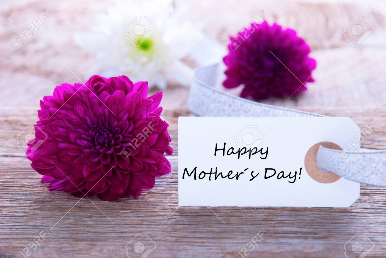 Label With Happy Mothers Day And Purple Flowers Stock Photo Picture
