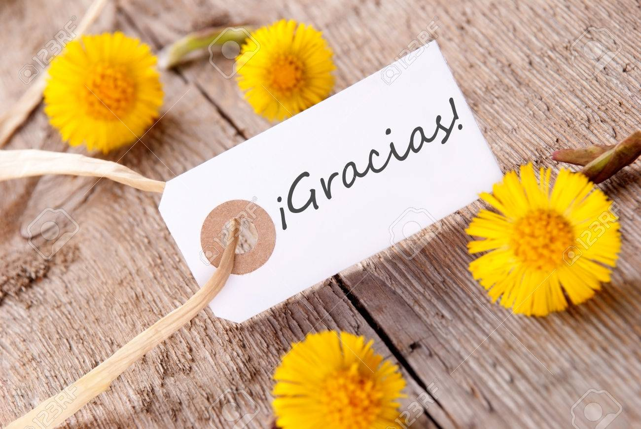 The Spanisch Word Gracias Which Means Thanks On A White Banner