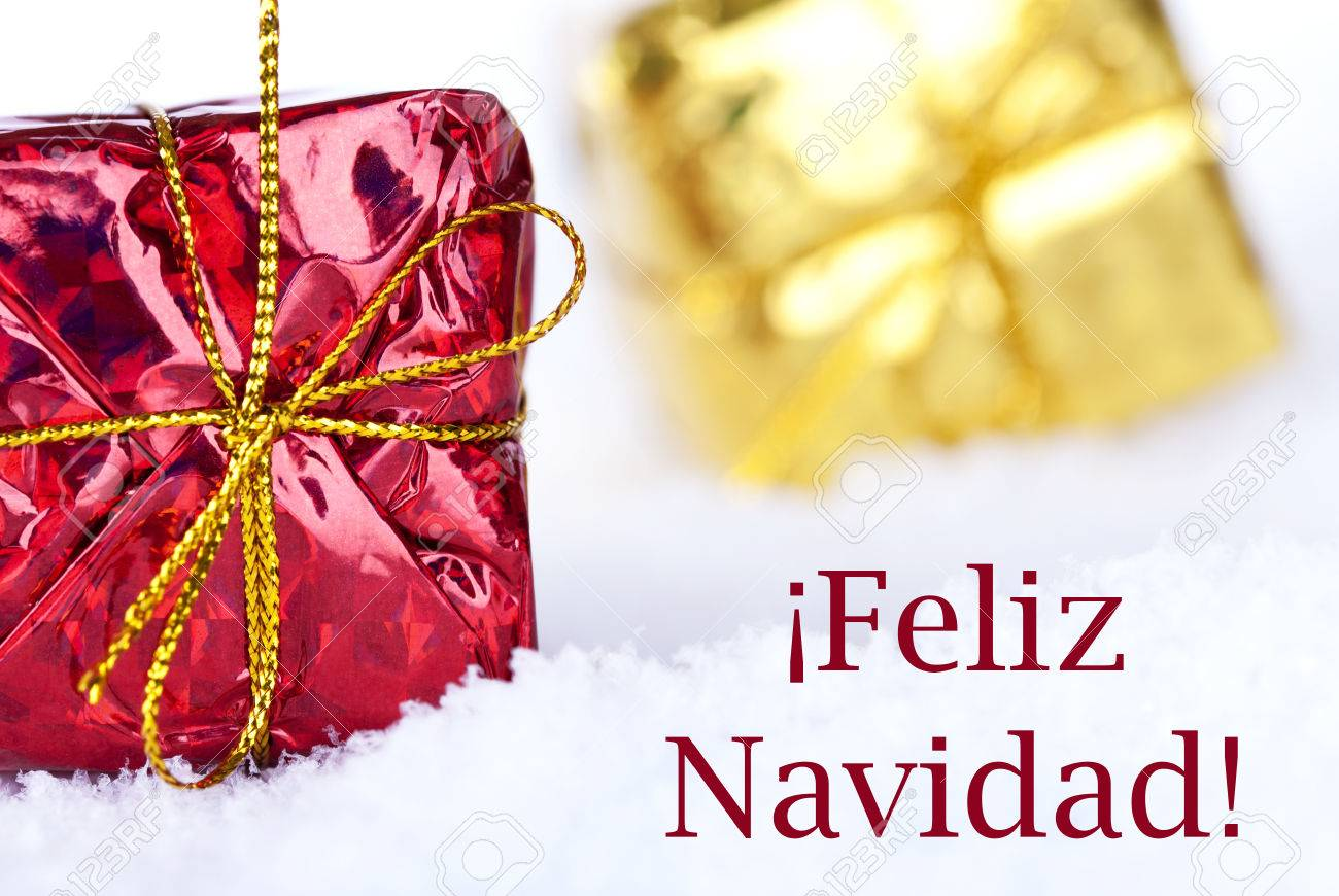 Christmas Wishes In Spanish.Christmas Gifts In The Snow With The Spanish Christmas Greetings