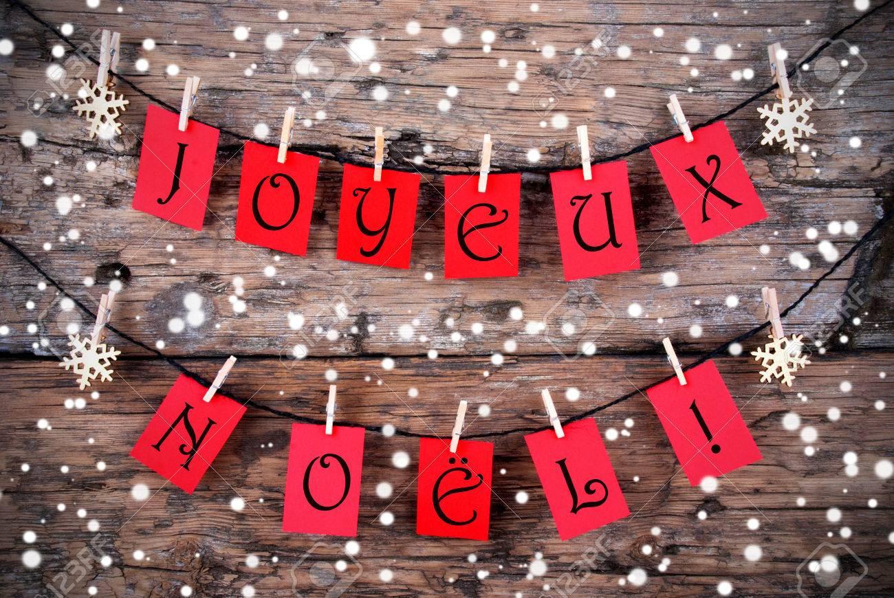 Buon Natale Que Significa.Immagini Stock Sfondo Innevato Natale Con Le Parole Francesi
