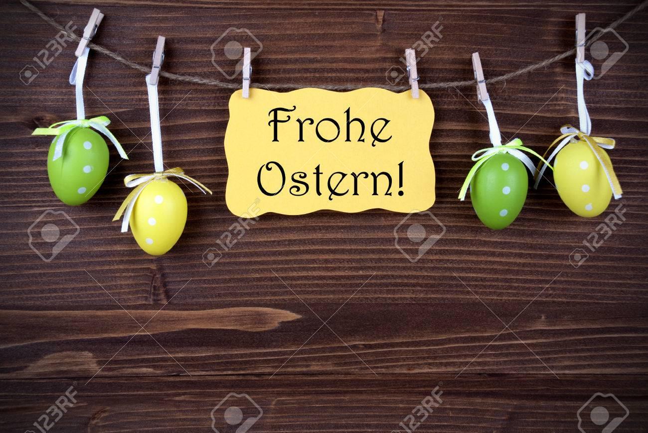 Yellow Easter Etikett Mit Deutscher Text Frohe Ostern Frohe Ostern