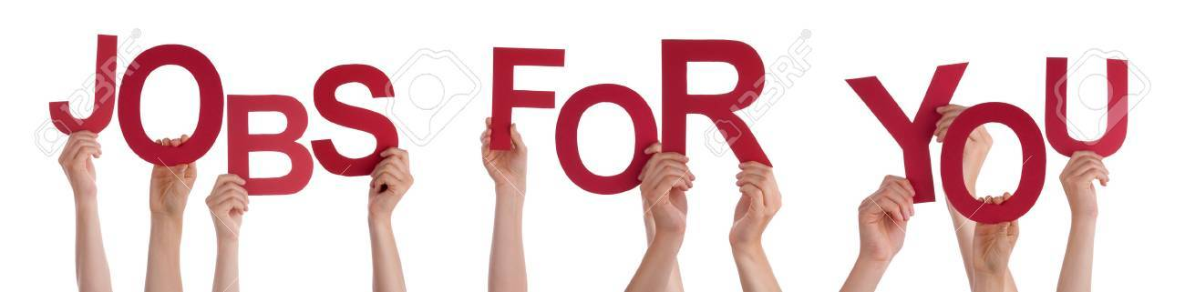 Many Caucasian People And Hands Holding Red Letters Or Characters Building The Isolated English Word Jobs For You On White Background - 37783874