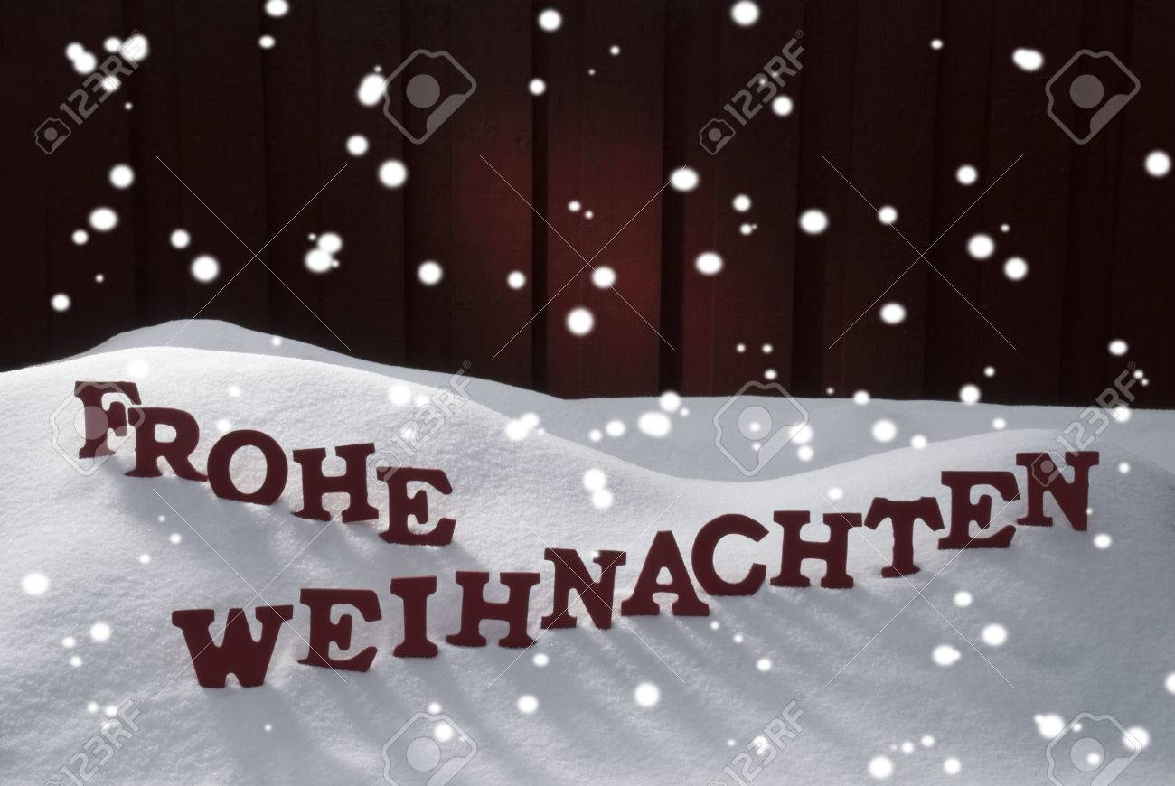 Red Letters Building German Word Frohe Weihnachten Means Merry