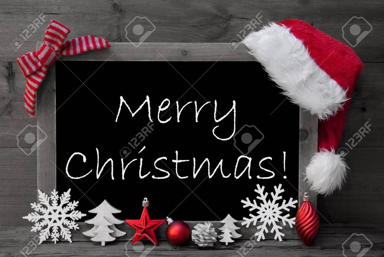 Surréaliste Image En Noir Et Blanc Blackboard Avec Rouge Chapeau De Père Noël GN-39