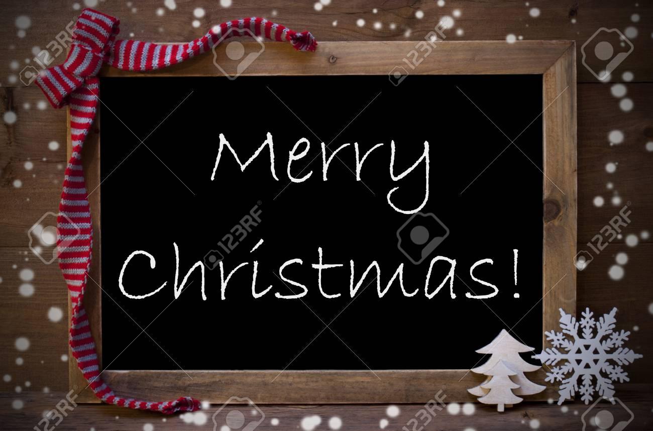 Blackboard Noël Brown Avec L'anglais Texte Joyeux Noël Comme Carte