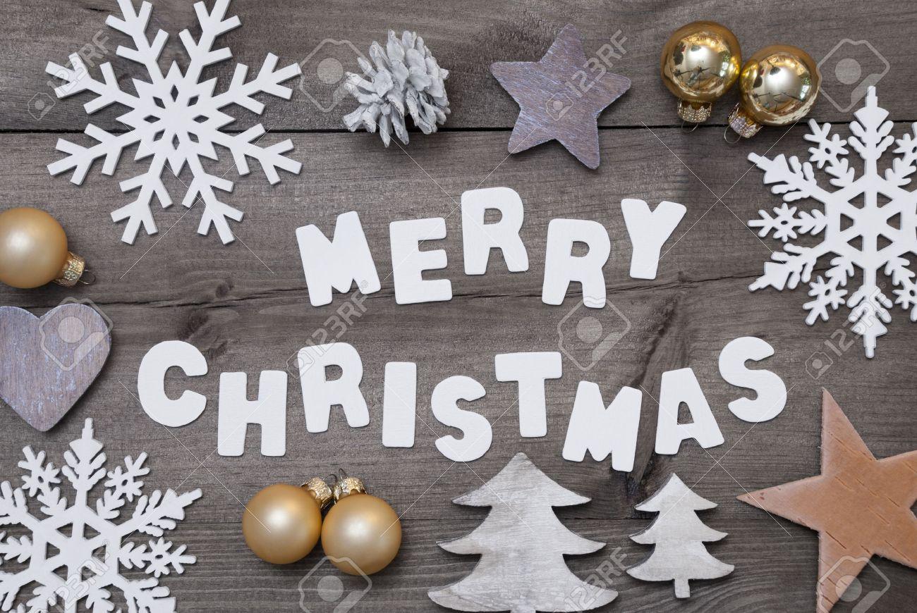 Weißer Schrift Mit Word-frohe Weihnachten Auf Braune Hölzerne ...