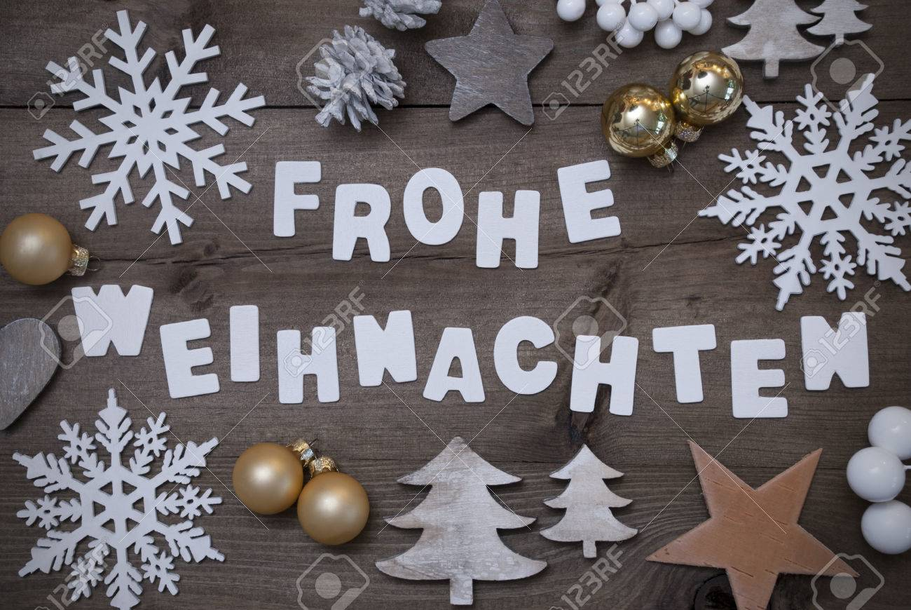 Blanc Lettres Avec Allemand Frohe Weihnachten Moyens Joyeux Noel Le