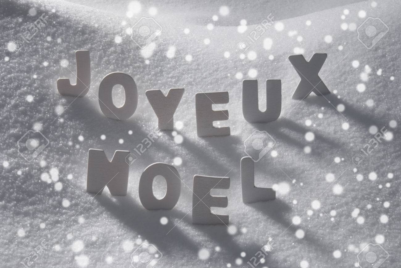 White Wooden Letters Building French Text Joyeux Noel Means Merry