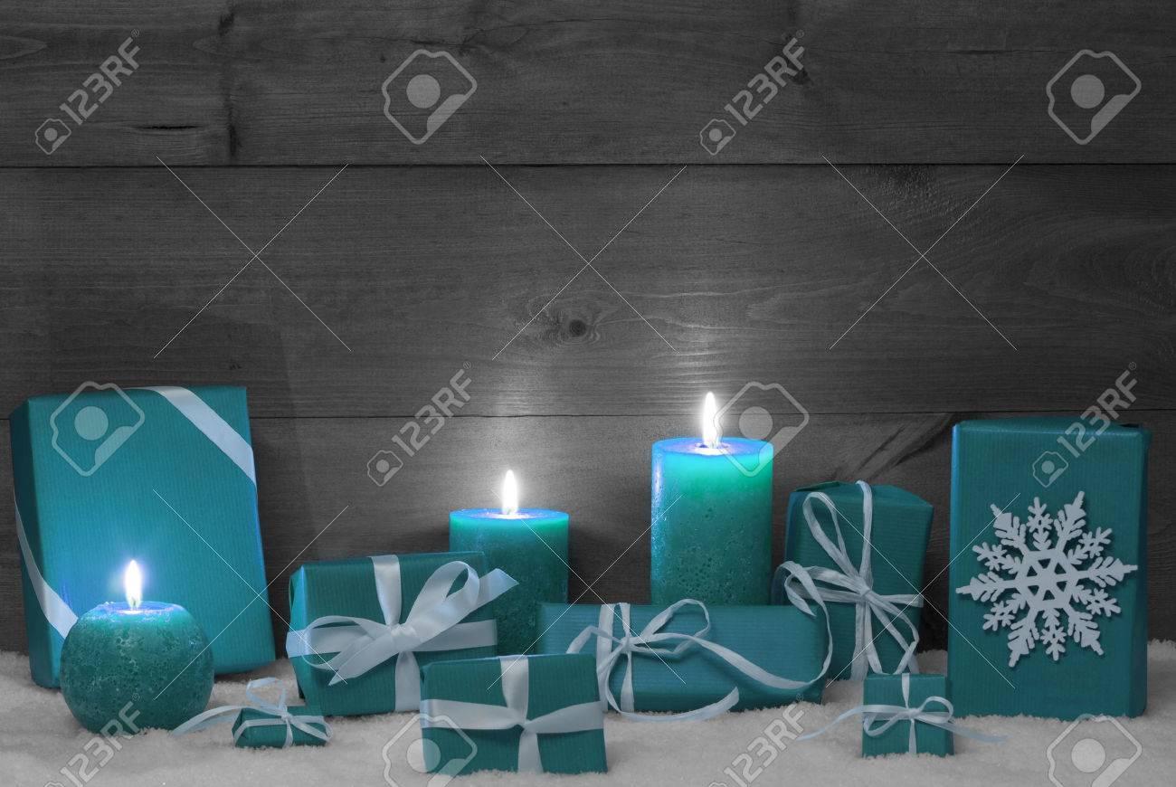 Weihnachtsdekoration Mit Türkis Kerzen, Handgemachte ...