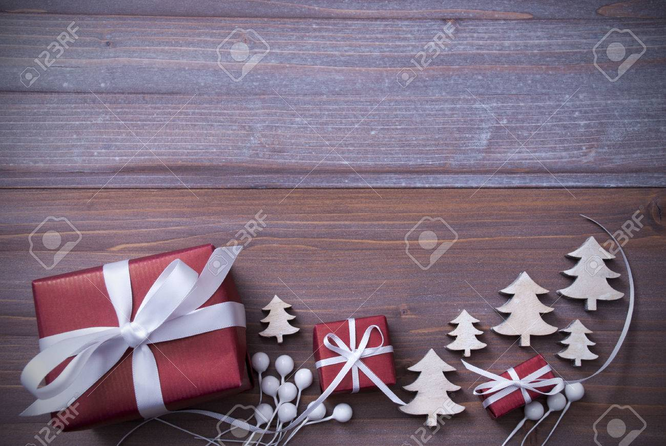 Red Christmas Gifts Presents White Ribbon With Christmas Trees Stock Photo Picture And Royalty Free Image Image 45258995