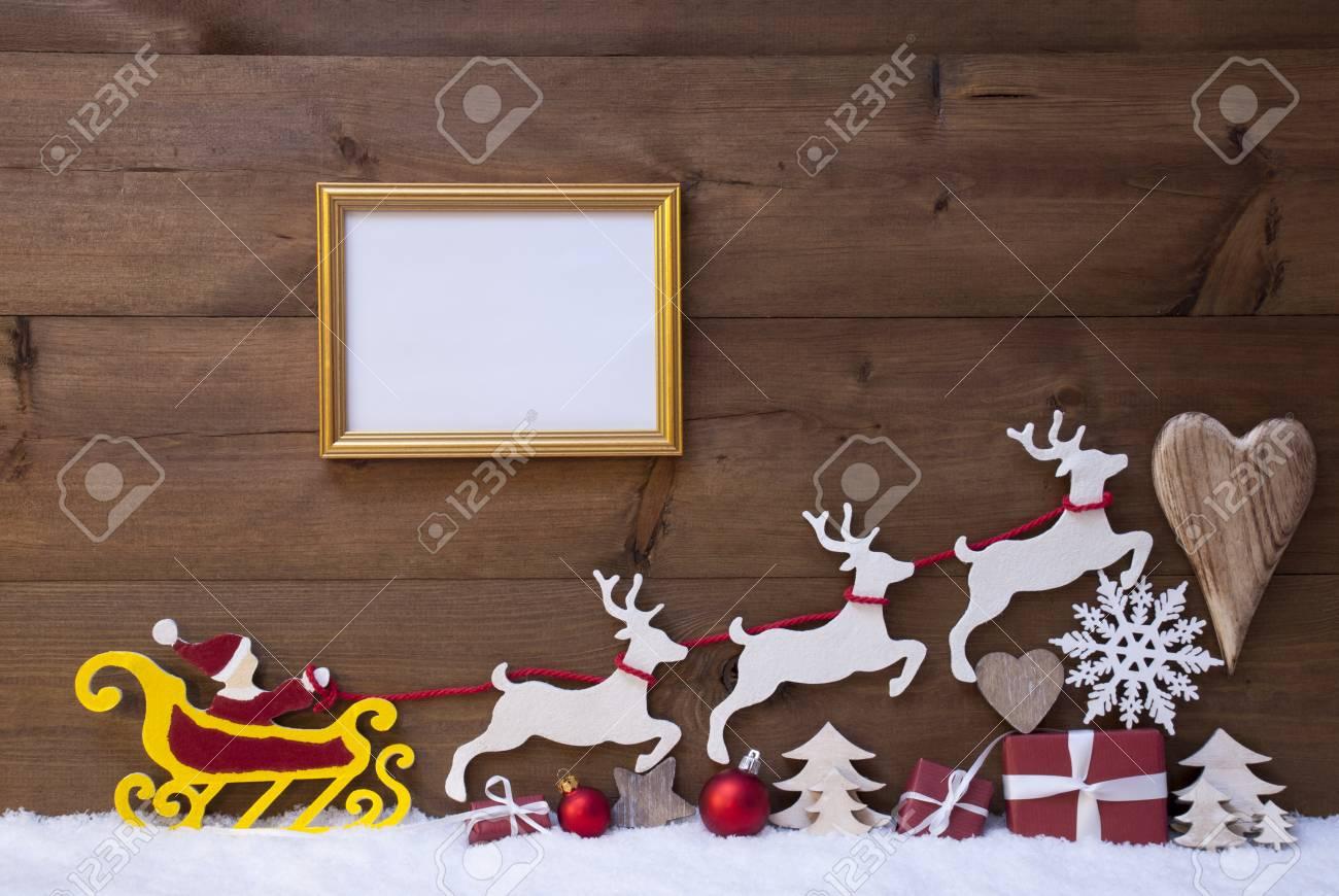 Weihnachtsdekoration, Rot Santa Claus, Gelb Schlitten Und Rentiere ...