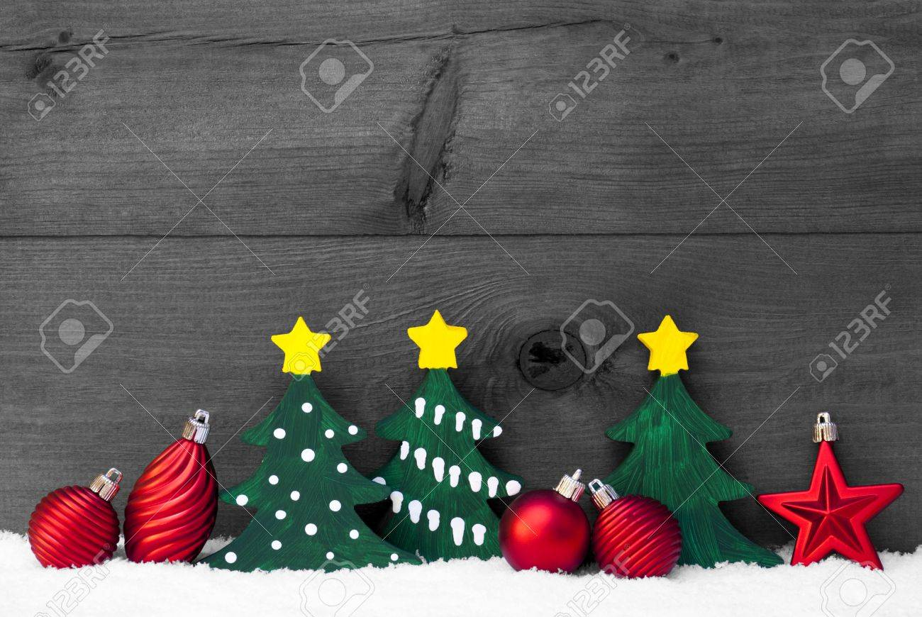 Gray Christmas Decoration On White Snow Green Christmas Tree Stock Photo Picture And Royalty Free Image Image 45908676