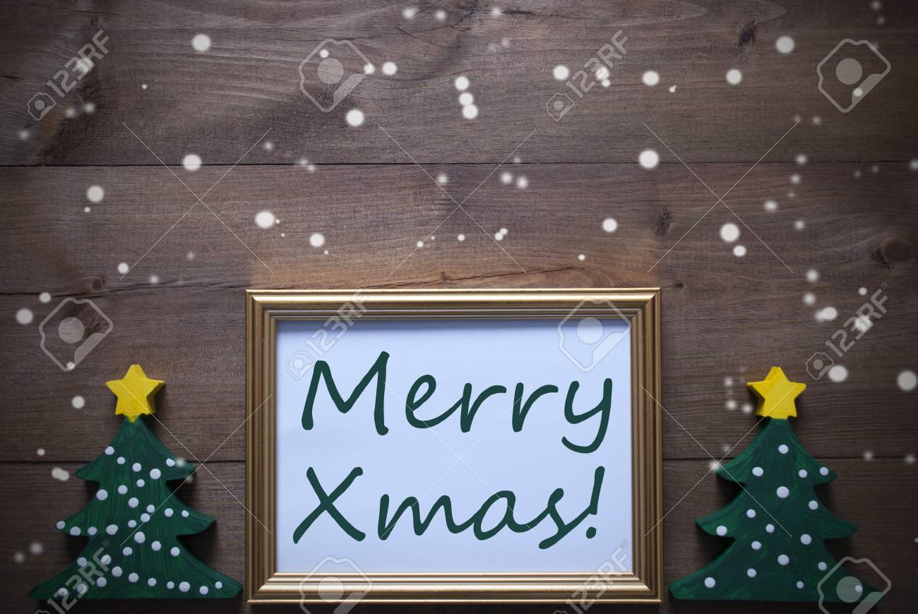 Marcos Para Fotos De Arbol De Navidad.Un Marco De Oro Con Dos Verde Del Arbol De Navidad Ingles Texto Feliz Navidad Tarjeta De Navidad Para Saludos De Las Estaciones Decoracion De