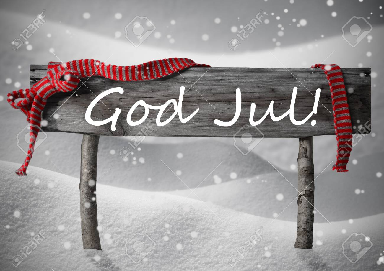 Frohe Weihnachten Schwedisch.Stock Photo