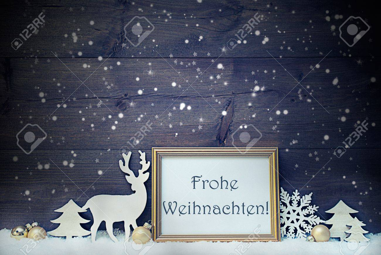 Frohe Weihnachten Shabby.Vintage Christmas Card With Picture Frame On Snow German Text