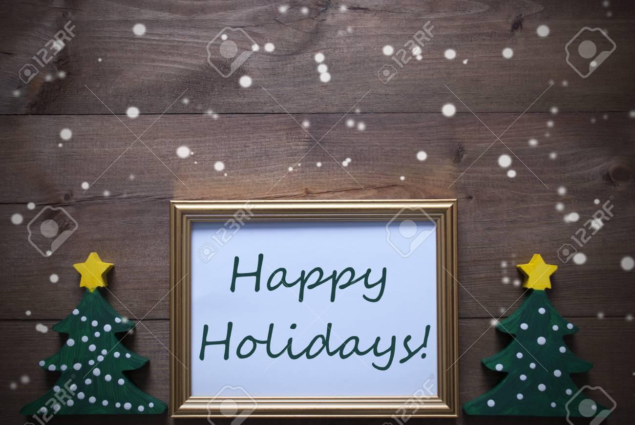 Ein Goldener Bilderrahmen Mit Zwei Grünen Weihnachtsbaum ...