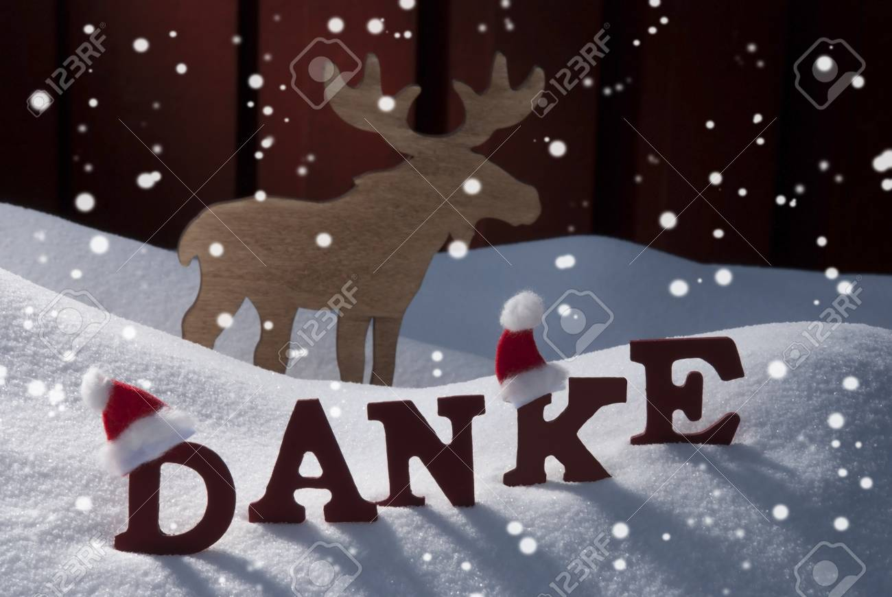 Red Letters With Santa Hat On White Snow With Snowflakes As ...