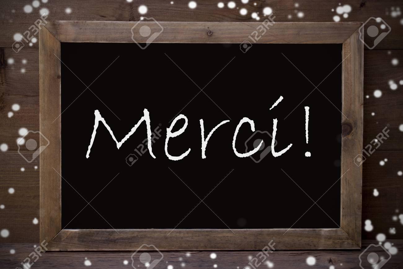 Brown Tafel Mit Französisch Text Merci Mittel Danken Ihnen Als ...