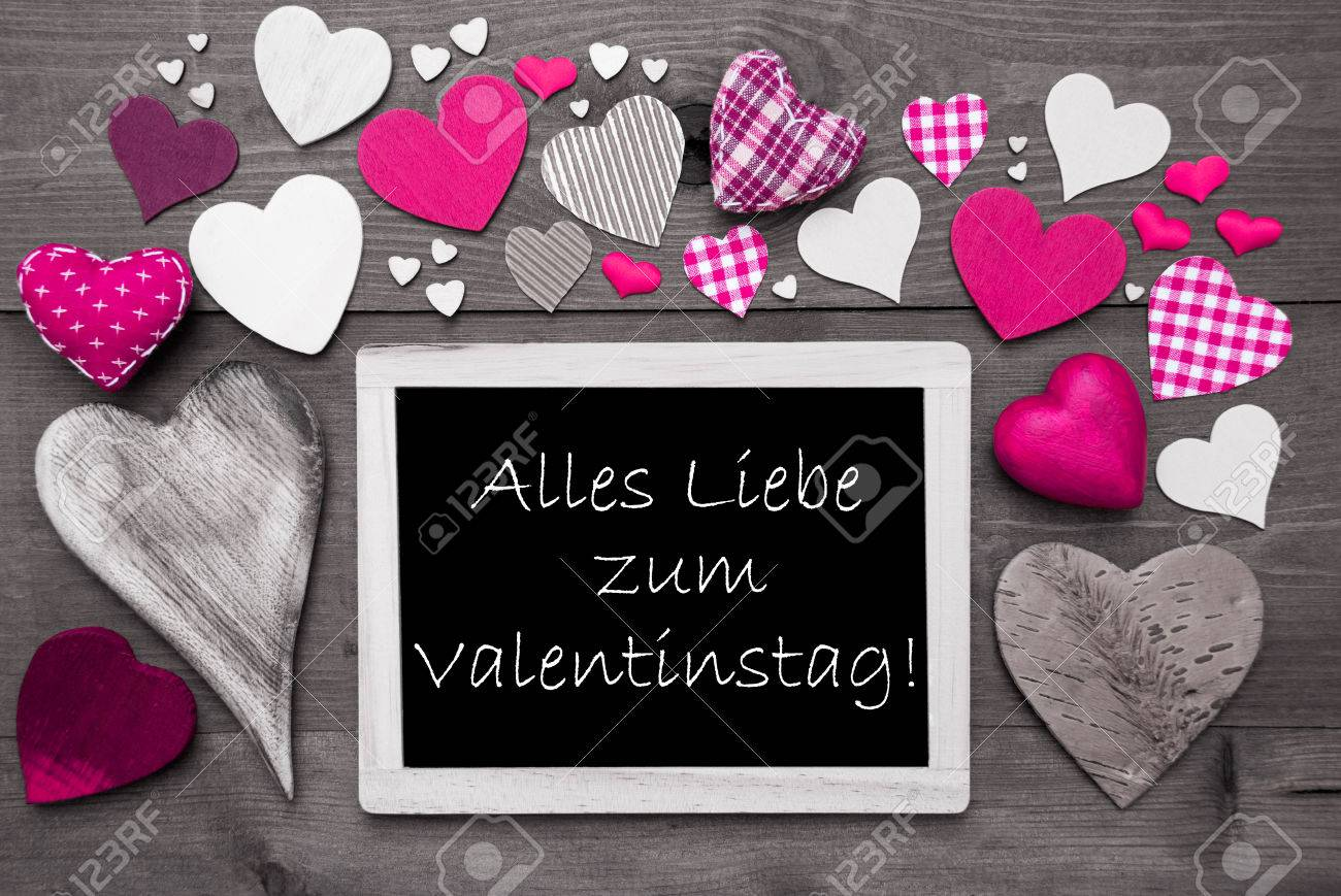 Chalkboard With German Text Alles Liebe Zum Valentinstag Means