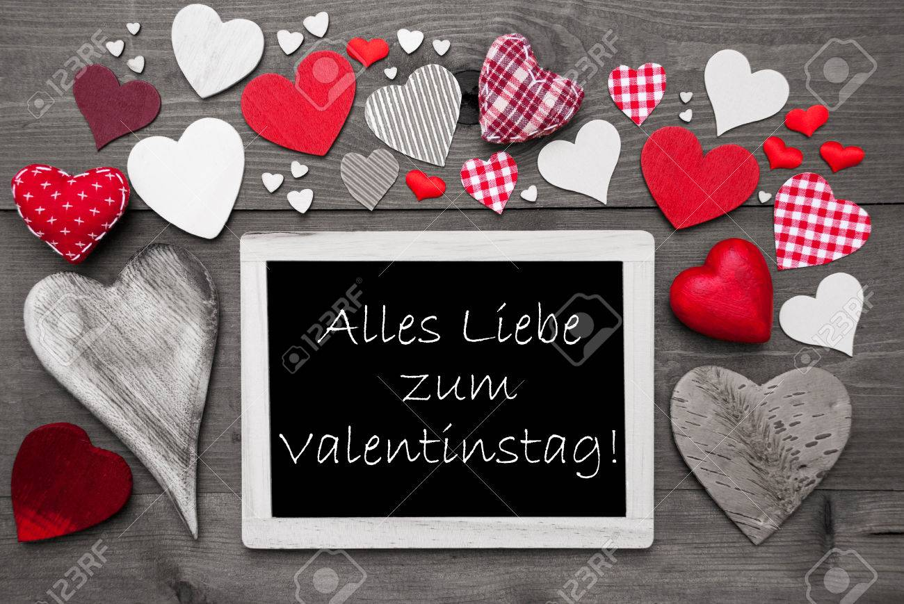 Chalkboard With German Text Alles Liebe Zum Valentinstag Means Happy  Valentines Day. Many Red Textile