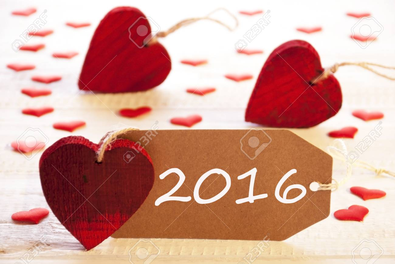 Romantic Label With Many Hearts Text 2016 For Happy New Year