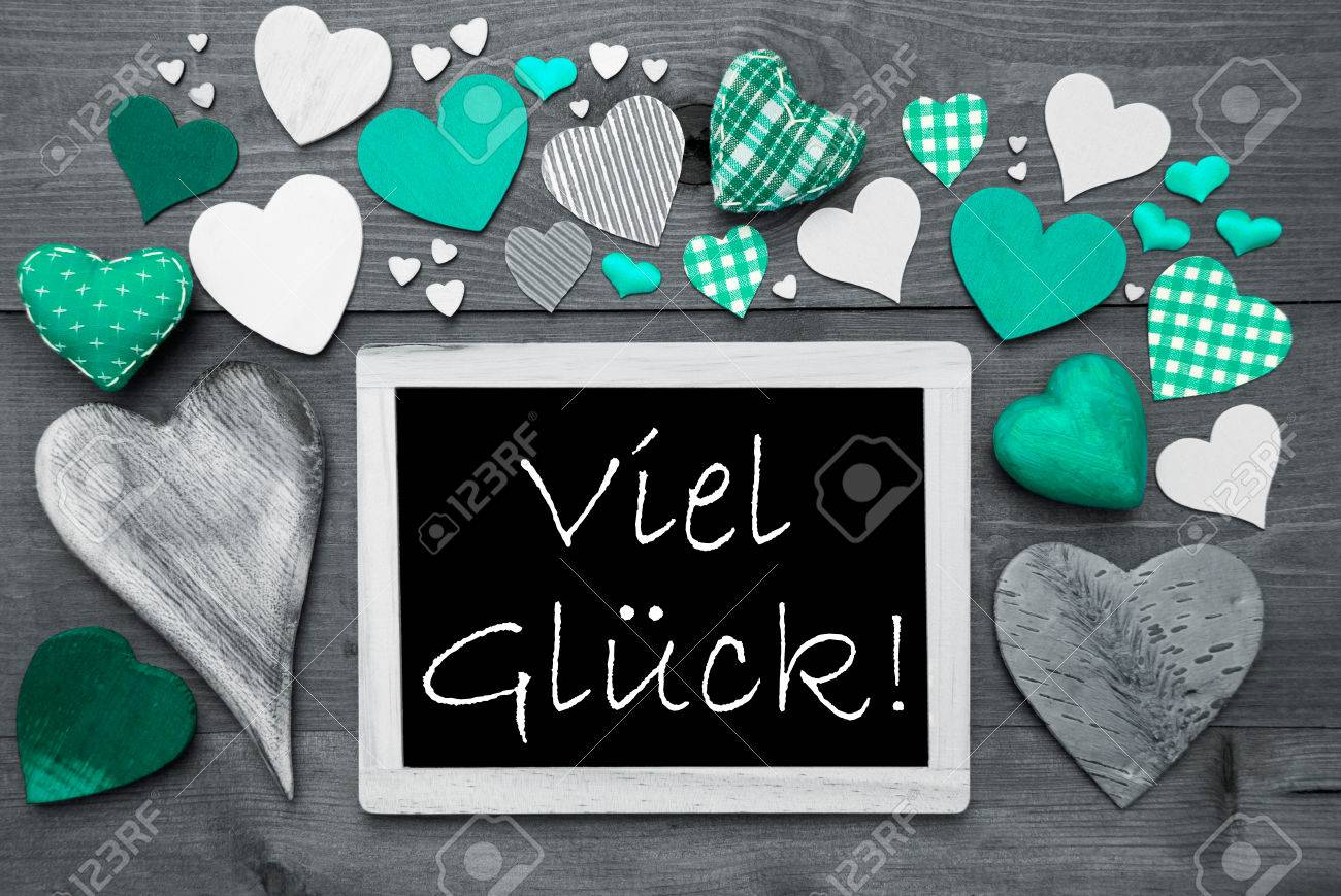 Chalkboard with german text viel glueck means good luck many chalkboard with german text viel glueck means good luck many green textile hearts wooden kristyandbryce Gallery