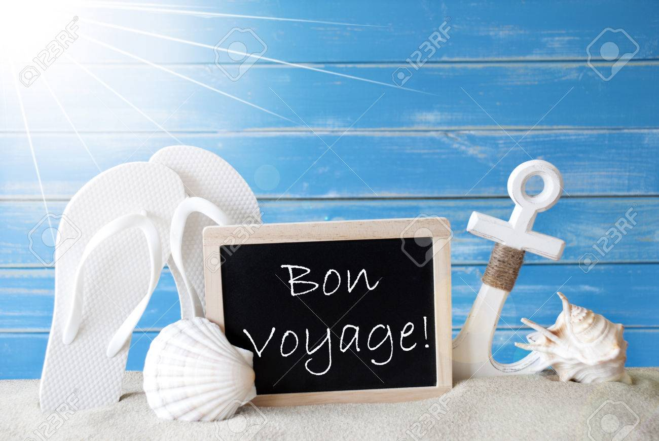 Chalkboard With French Text Bon Voyage Means Good Trip Blue Stock