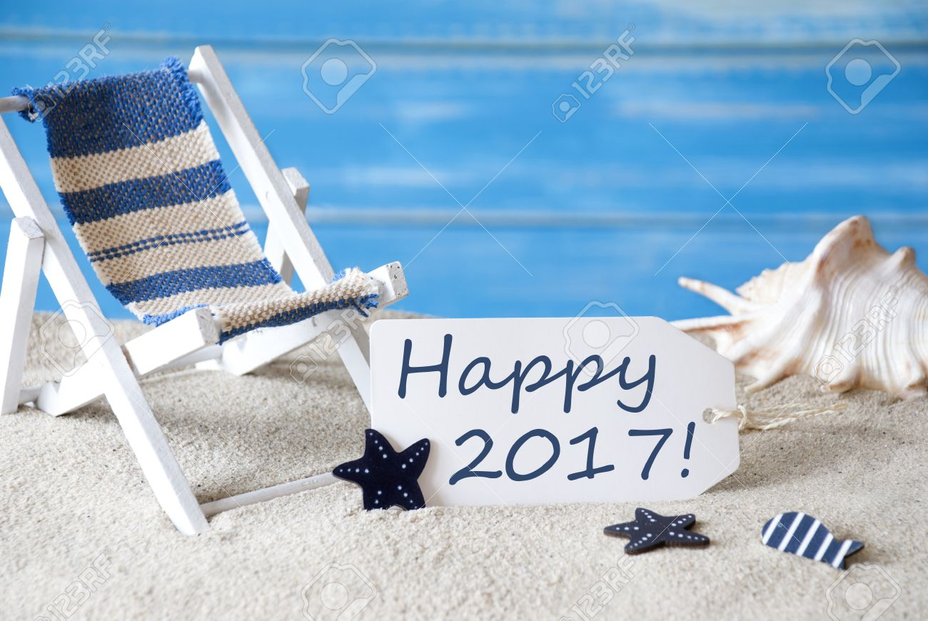 Summer label with english text happy 2017 blue wooden background stock photo summer label with english text happy 2017 blue wooden background card with holiday greetings beach vacation symbolized by sand m4hsunfo