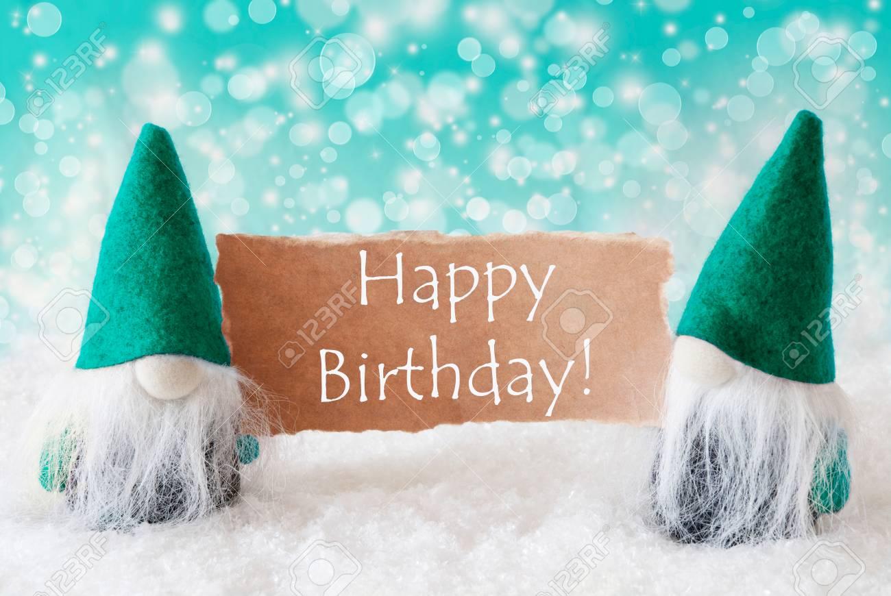 Weihnachtsgrusskarte Mit Zwei Turqoise Zwerge Funkelnde Bokeh