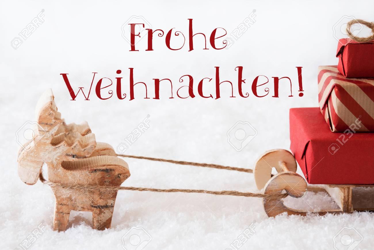 Moose Zeichnet Einen Schlitten Mit Roten Geschenken Oder Geschenke ...