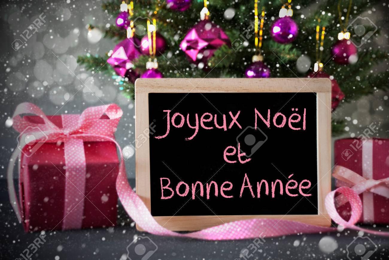 Bonne Annee Joyeux Noel.Chalkboard With French Text Joyeux Noel Et Bonne Annee Means