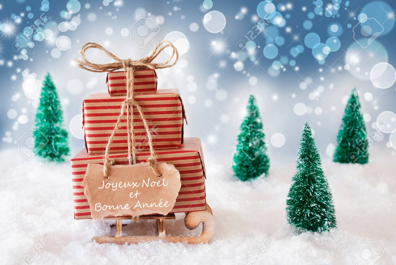 Sleigh Or Sled With Christmas Gifts Or Presents On Snow. Blue ...