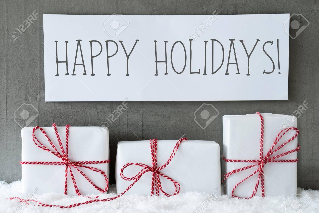 Drei Weihnachtsgeschenke Oder Geschenke Auf Schnee Zementwand Als