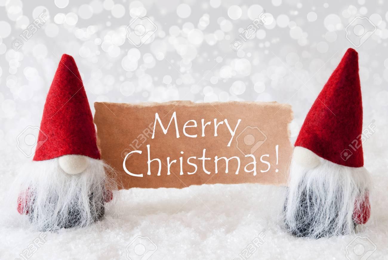 Buon Natale In Inglese.Immagini Stock Christmas Greeting Card Con Due Rossi Gnomi