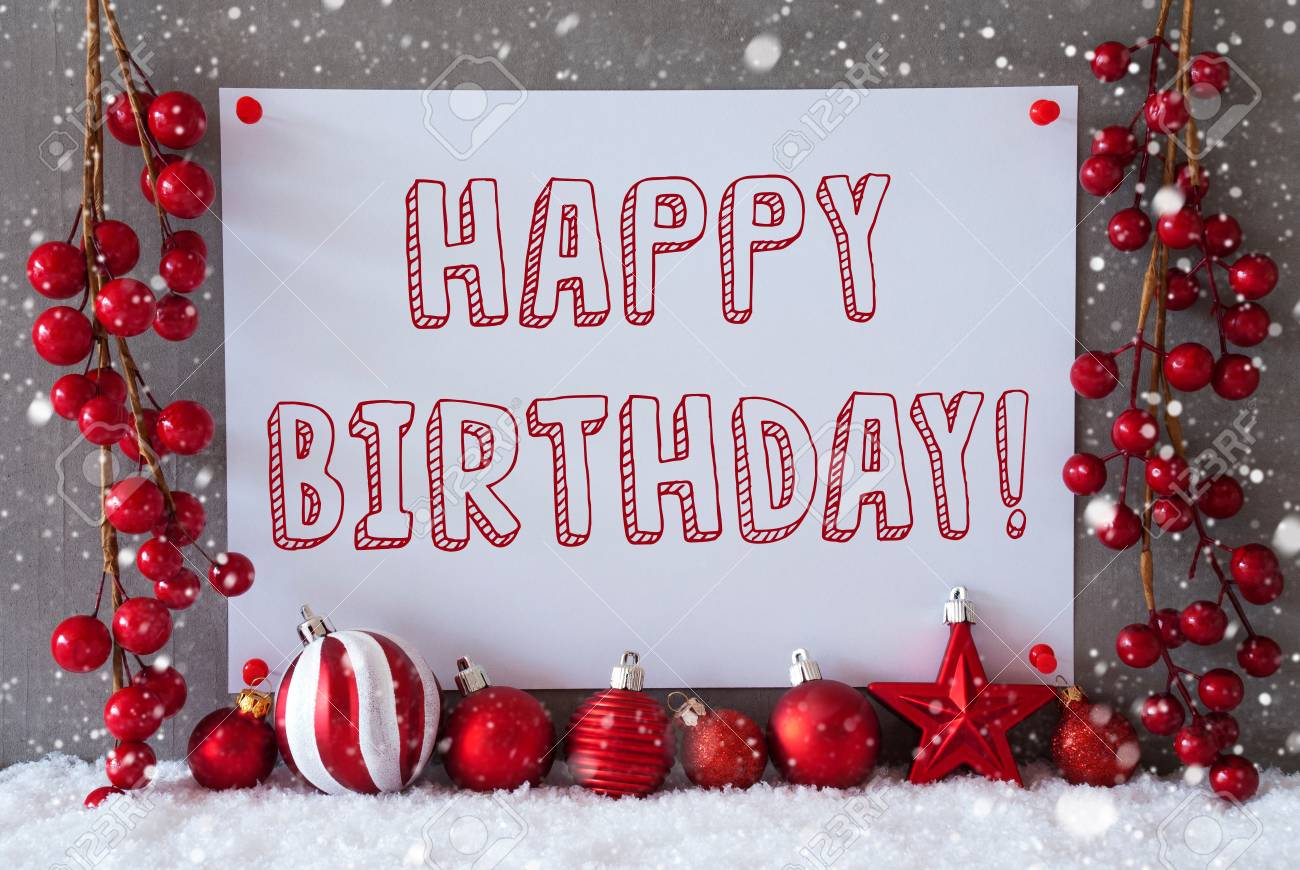 Christmas Birthday.Label With English Text Happy Birthday Red Christmas Decoration