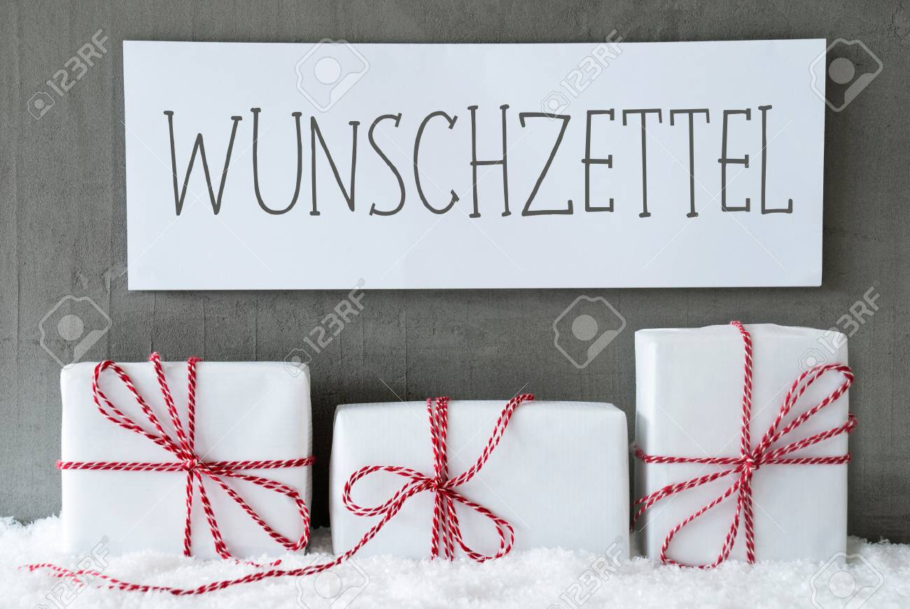 Label With German Text Wunschzettel Means Wish List. Three Christmas ...