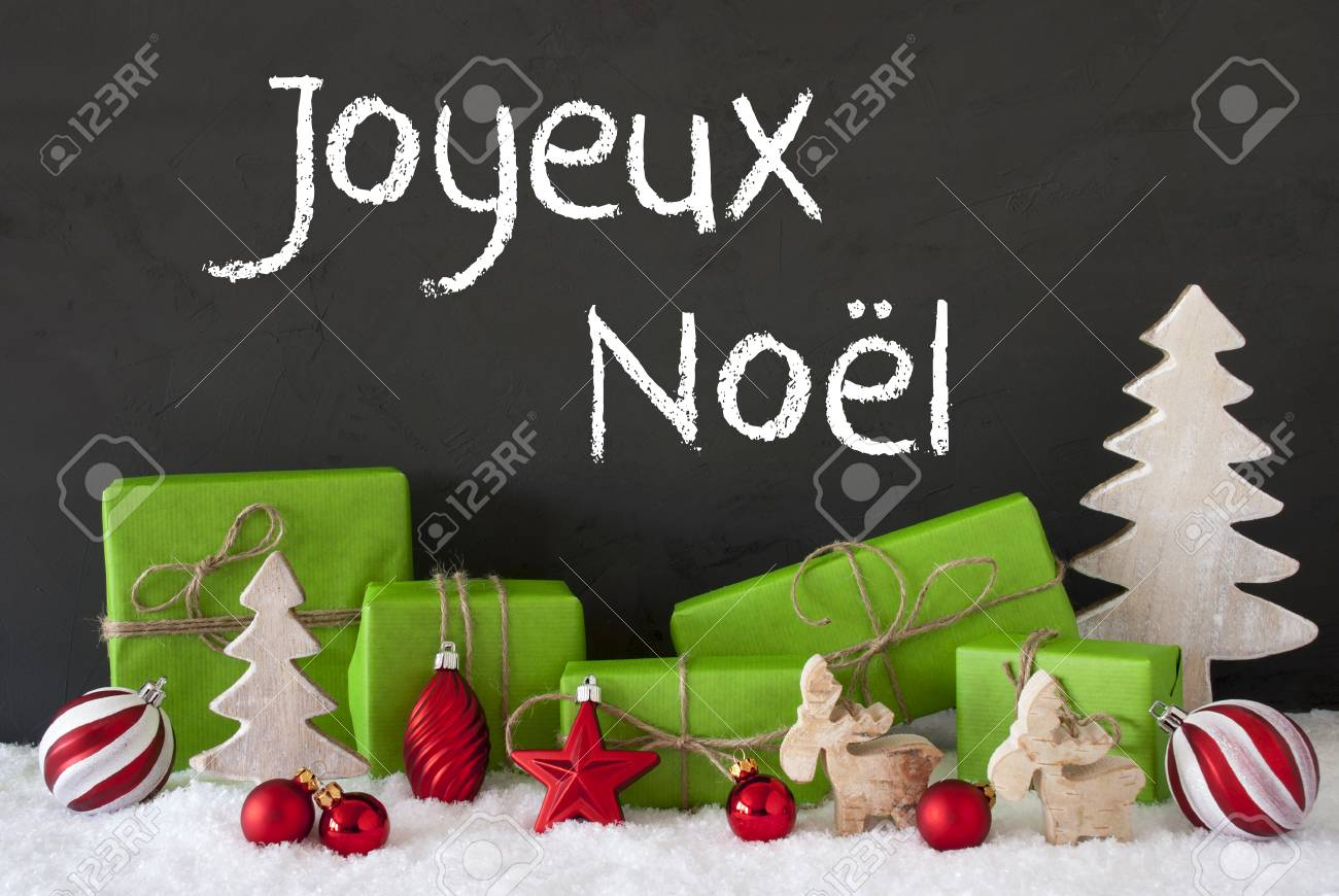 French Text Joyeux Noel Means Merry Christmas. Green Gifts Or ...
