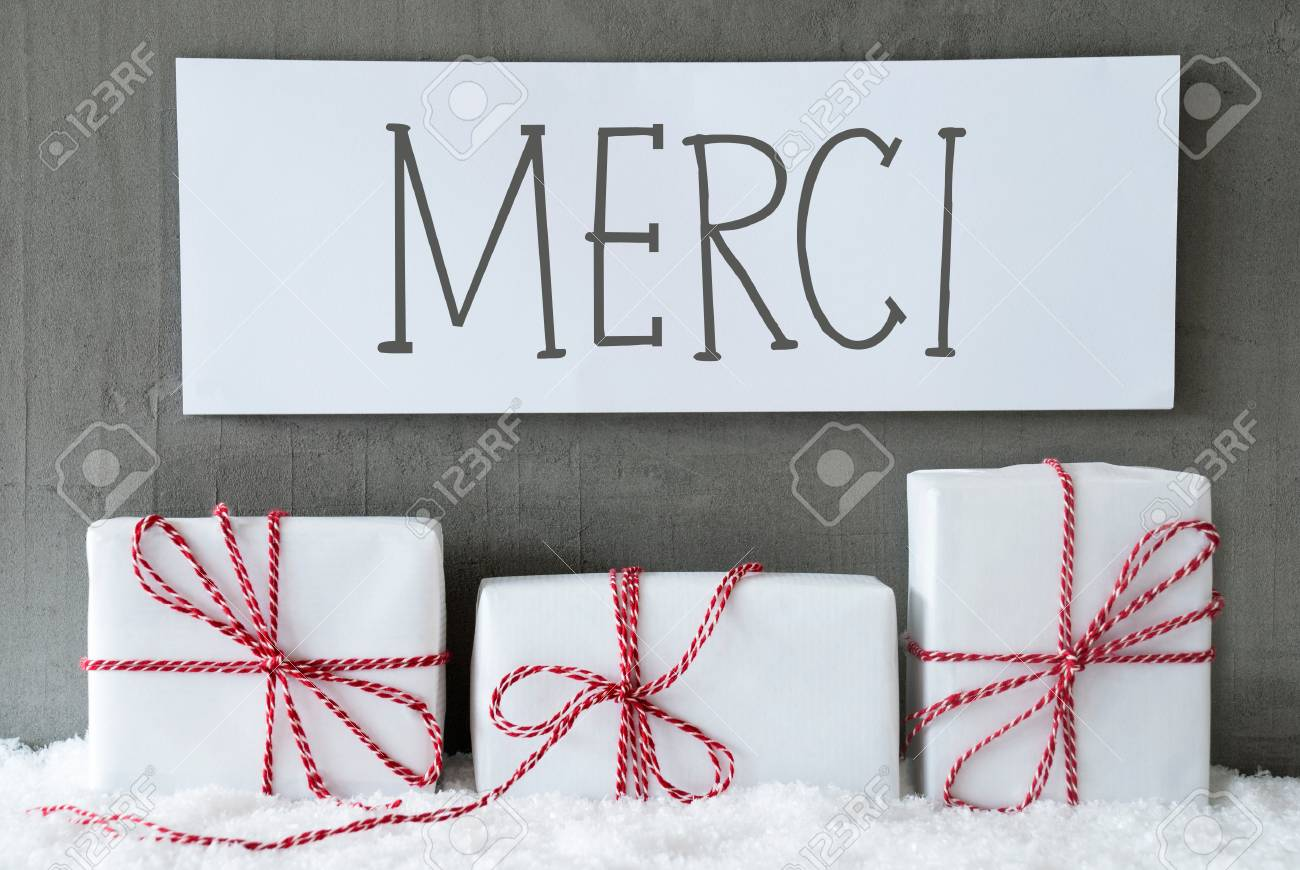 Label With French Text Merci Means Thank You. Three Christmas ...
