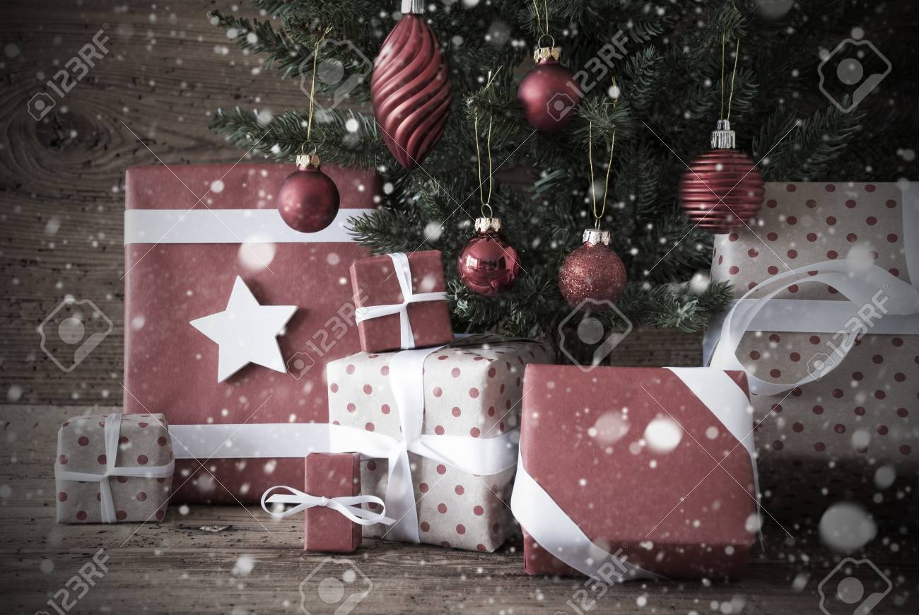 Nostalgic Christmas Tree With Gifts Or Presents In The Front.. Stock ...